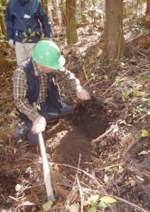 森林の土壌についての野外実習